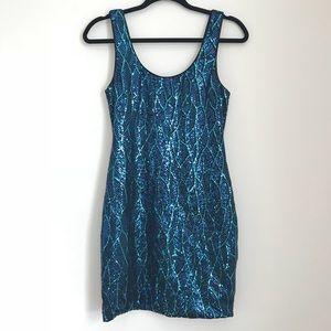 Sequin Blue Teal Bodycon tank dress M
